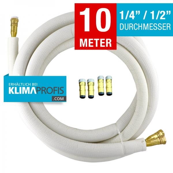 Kältemittelleitung mit selbstschließenden Anschlussarmaturen,halbflexibel, 6/12mm, 10 Meter