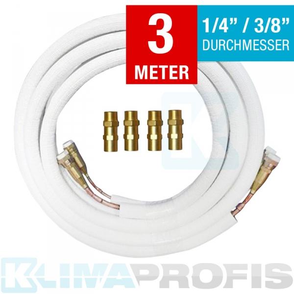 Kältemittelleitung mit Anschlussarmaturen, 6/10mm, 3 Meter