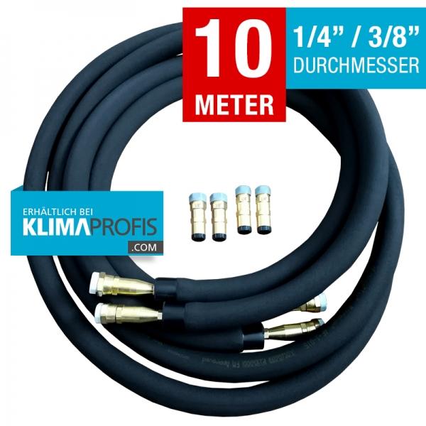 Kältemittelleitung mit Anschlussarmaturen, hochflexibel, 6/10mm, 10 Meter