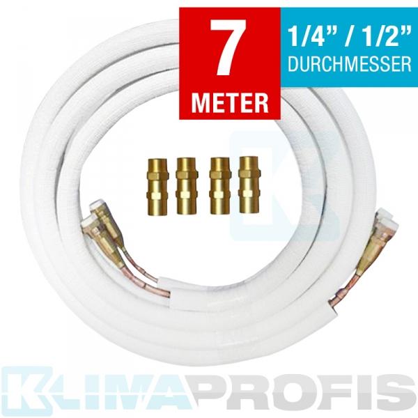 Kältemittelleitung mit Anschlussarmaturen, 6/12mm, 7 Meter