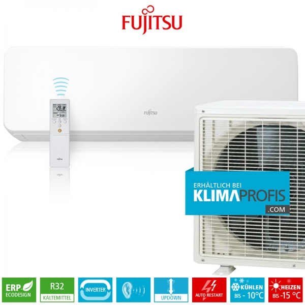 Fujitsu ASYG07KGTB R32 Inverter Design Wandklimageräte Set - 3,2 kW