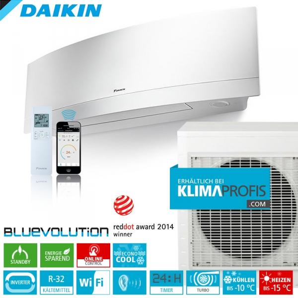 Daikin Emura FTXJ50MW R32 WiFi Inverter Klimageräte-Set 5,3 kW