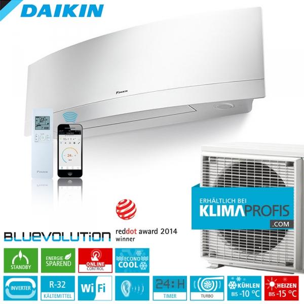 Daikin Emura FTXJ20MW R32 WiFi Inverter Klimageräte-Set 2,8 kW