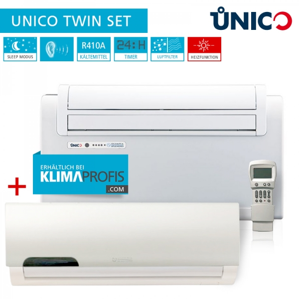 Unico Twin Truhenklimagerät inkl. Wandklimagerät Inverter Set - 2,6 kW, 2 Räume, Kühlen und Heizen