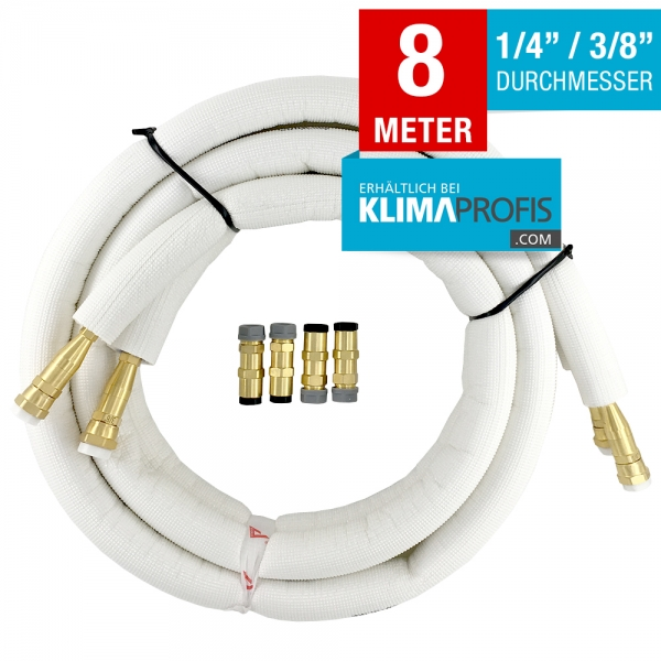 Kältemittelleitung mit Anschlussarmaturen, hochflexibel, 6/10mm, 8 Meter