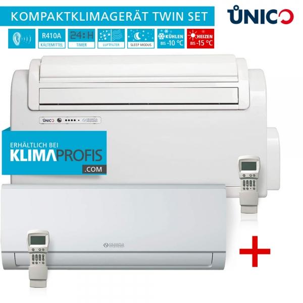 Unico Twin S1 Truhenklimagerät inkl. Wandklimagerät, Set für 2 Räume - 2,6/2,5 kW