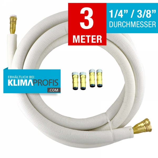 Kältemittelleitung mit selbstschließenden Anschlussarmaturen, halbflexibel, 6/10mm, 3 Meter