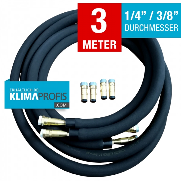Kältemittelleitung mit Anschlussarmaturen, hochflexibel, 6/10mm, 3 Meter