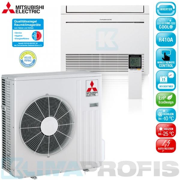 Mitsubishi MFZ-KJ50VEHZ Hyper Heating Inverter Truhenklimageräte Set - 5,7 kW