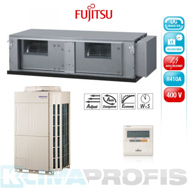 Fujitsu ARYC 72 LHT Zwischendecken- Klimageräte Set, 400V - 23,5 kW
